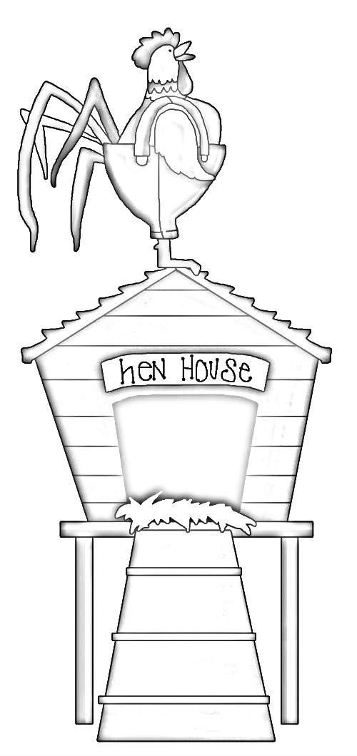 Hen House Coloring Pages Sketch Coloring Page